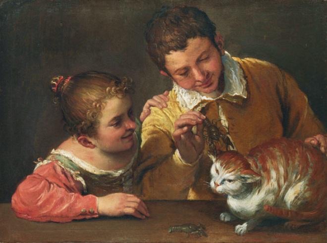Двое детей дразнят кота
