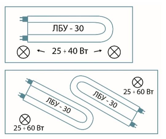 Схема размещения ламп освещения в крышках аквариумов объемом 100 и 200 л