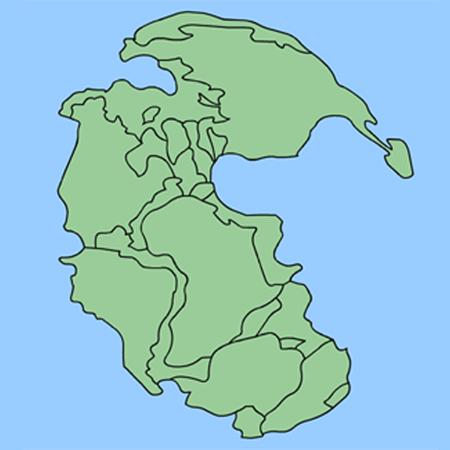 Пангея, окруженная суперокеаном Панталасса